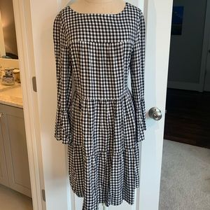 B&W gingham tiered dress size large
